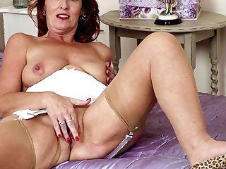 Dirty Talking Cougar Strips Masturbates In Girdle Nylons Stilettos
