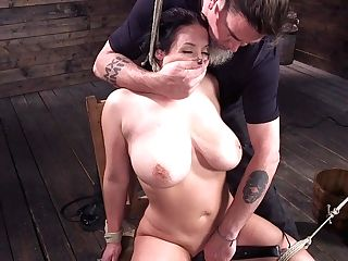 Subjugated Cougar With G-cup Udders Angela Milky Gets Penalized In The Basement