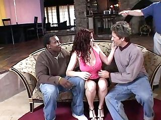 Wild Ginger-haired Whore Scarlet Fucking In Threesome For Her Beau