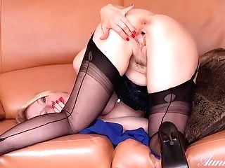 Blonde Woman In Erotic, Black Stockings, Lucindais Spreading Up And Fumbling Her Soaking Moist Vag