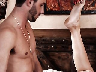 Playful Dark-haired Damsel Bella Rolland Provides Her Brief Bristled Bf With A Bj
