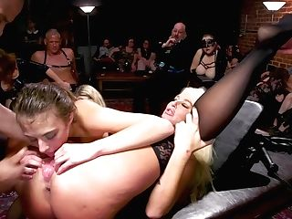 Hard-core Threesome Hump In One Private Club Of Perverts