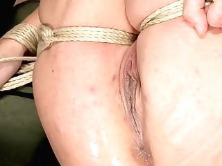 Blonde In Chest Restrain Bondage Gets Stimulated