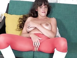 Horny Big Tits Black-haired Kate Anne Masturbates In Crotchless Pantyhose Boots